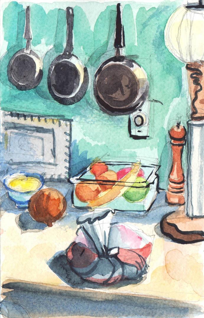 Canada Cottage Kitchen Sketch • Personal Work