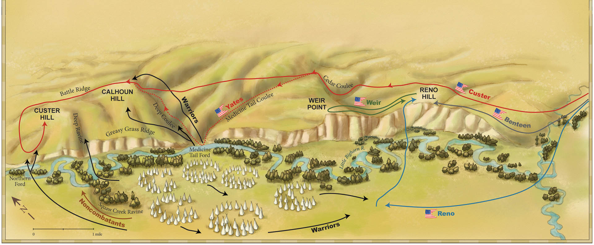 Attack at Little Bighorn Map • Military History Quarterly Magazine