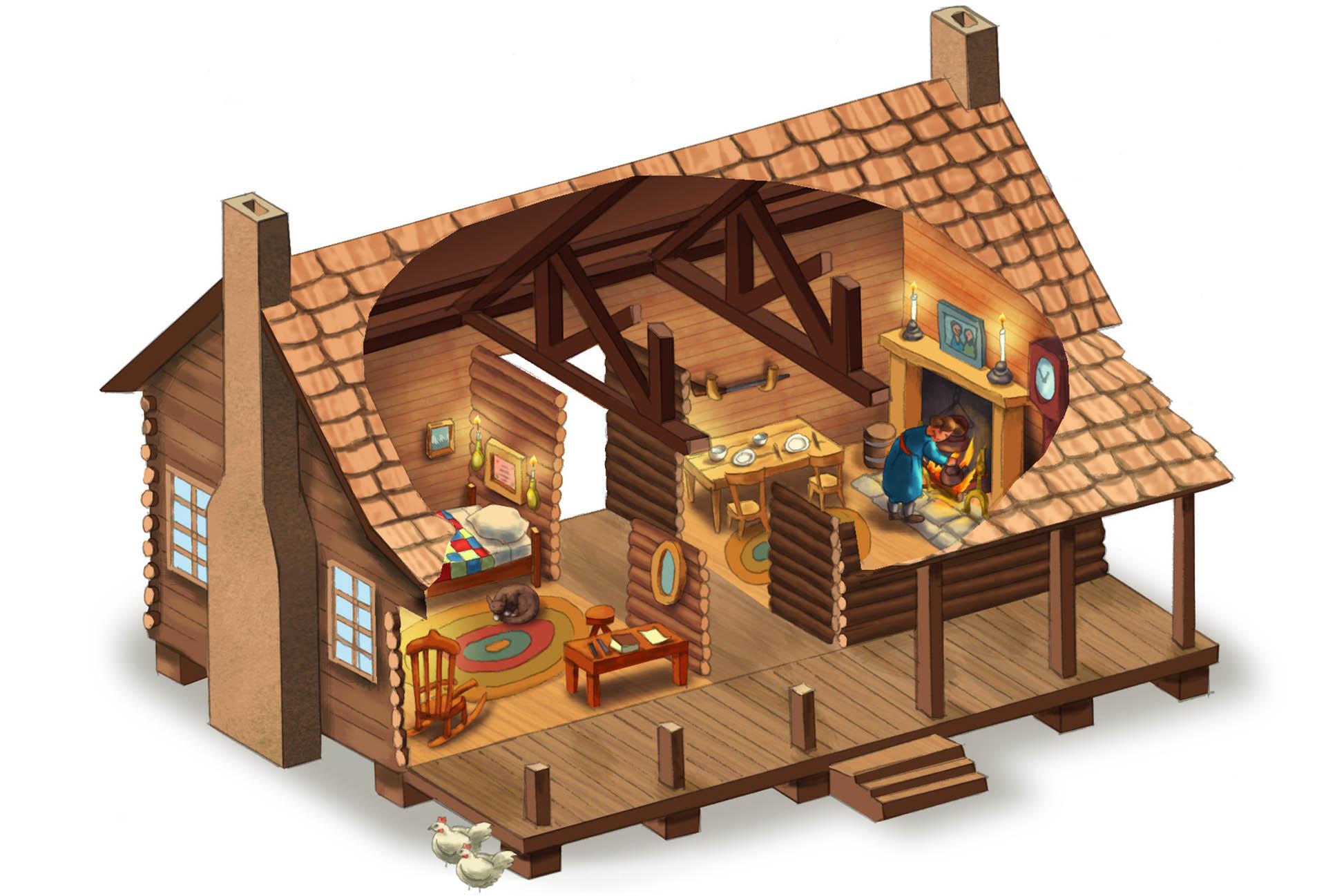 Dog Trot House Cutaway Illustration • Pearson USA