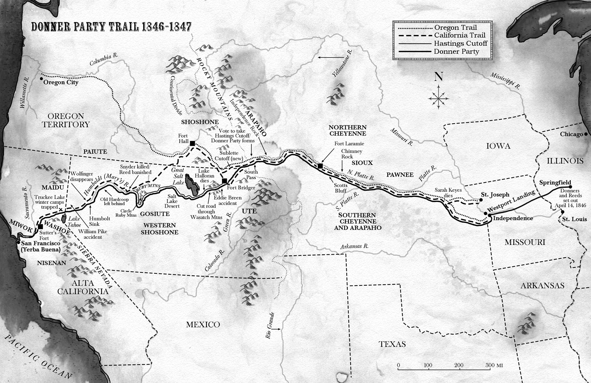 Map of the Donner Party Trail • Candlewick Press
