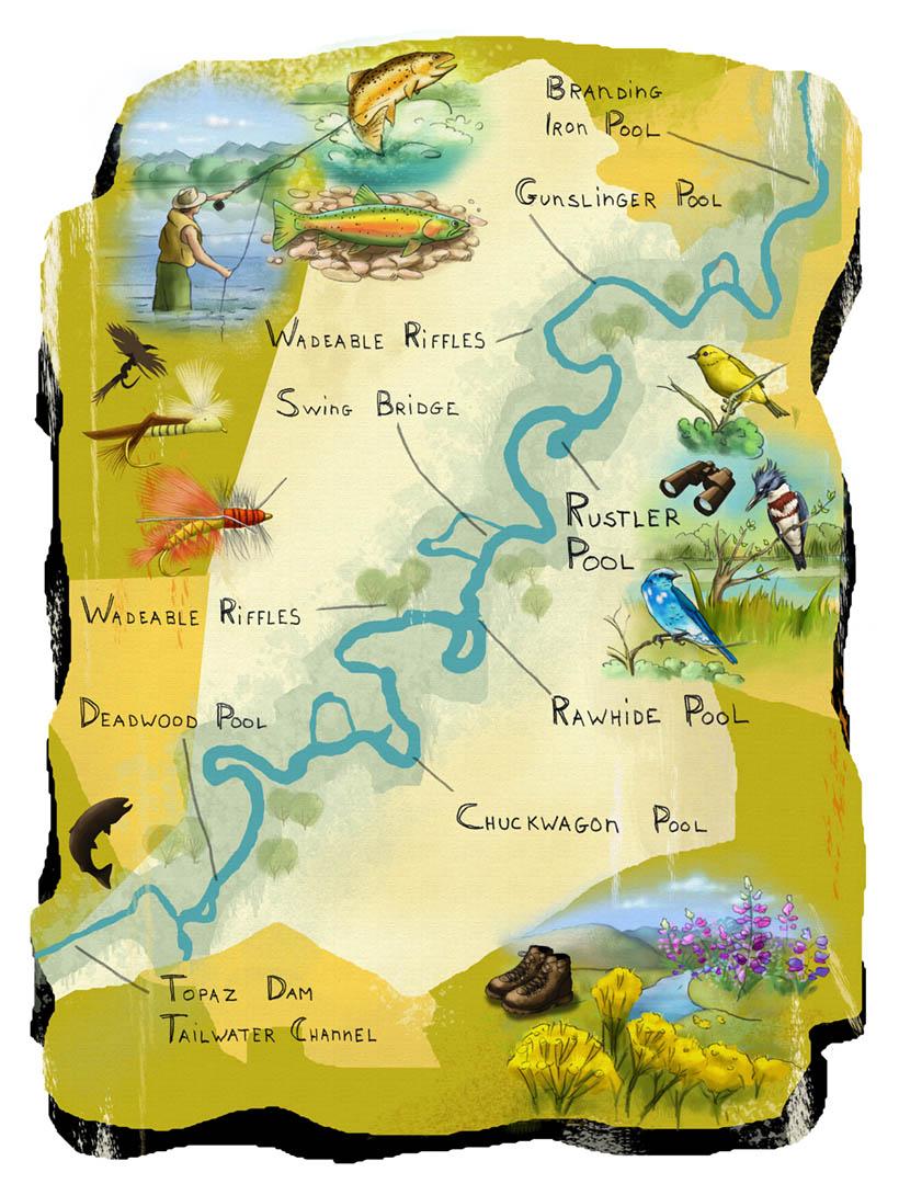 Map of Fishing Spots • Clear Creek Tahoe Resort
