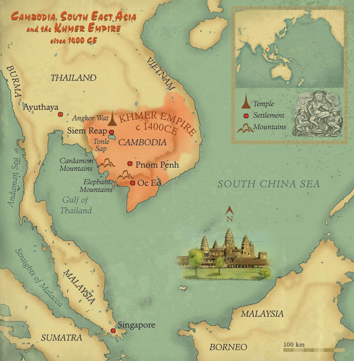 Map of Khmer Empire • Pearson Australia