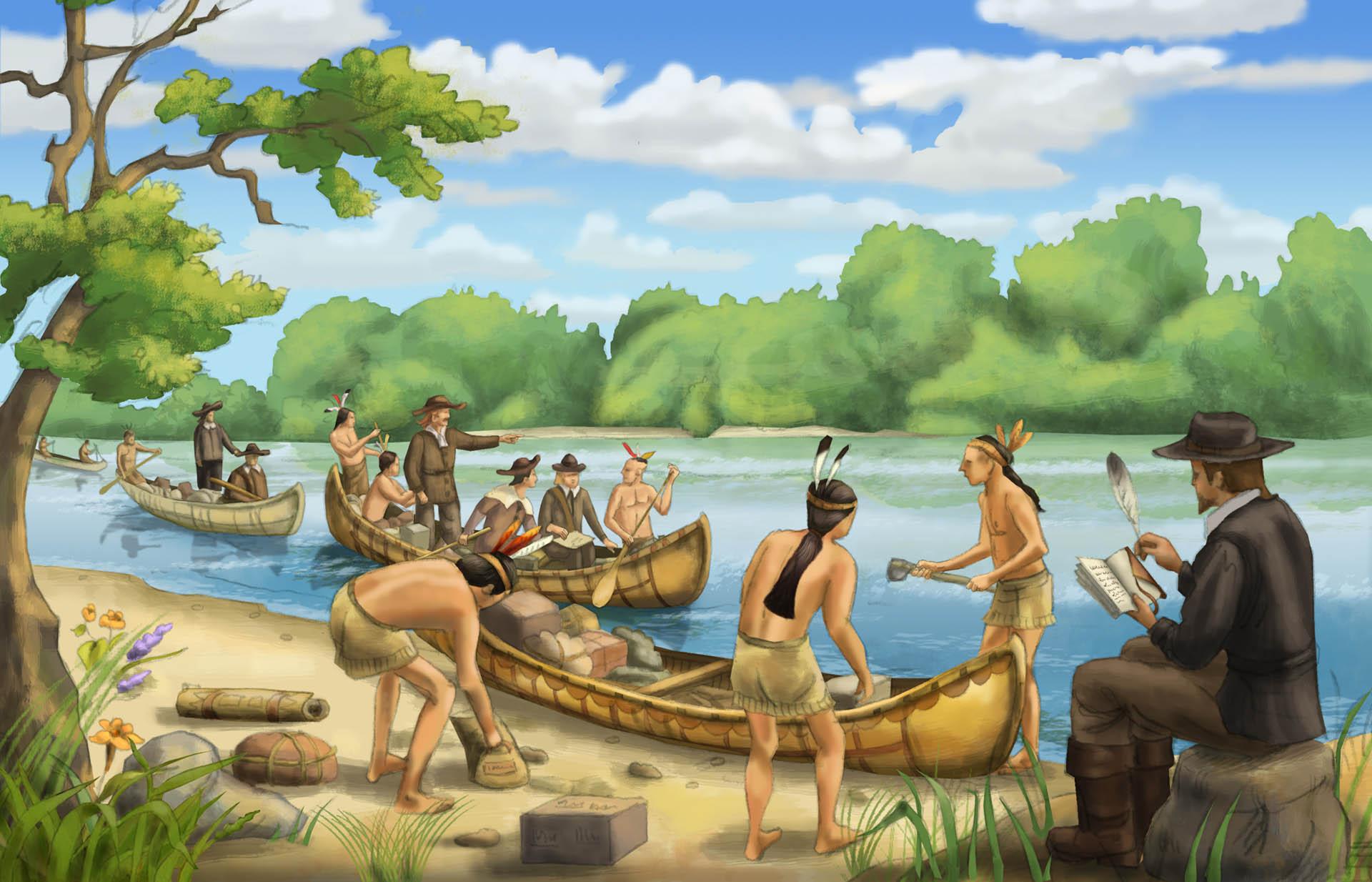 Natchez Indian Canoes Illustration • Pearson USA