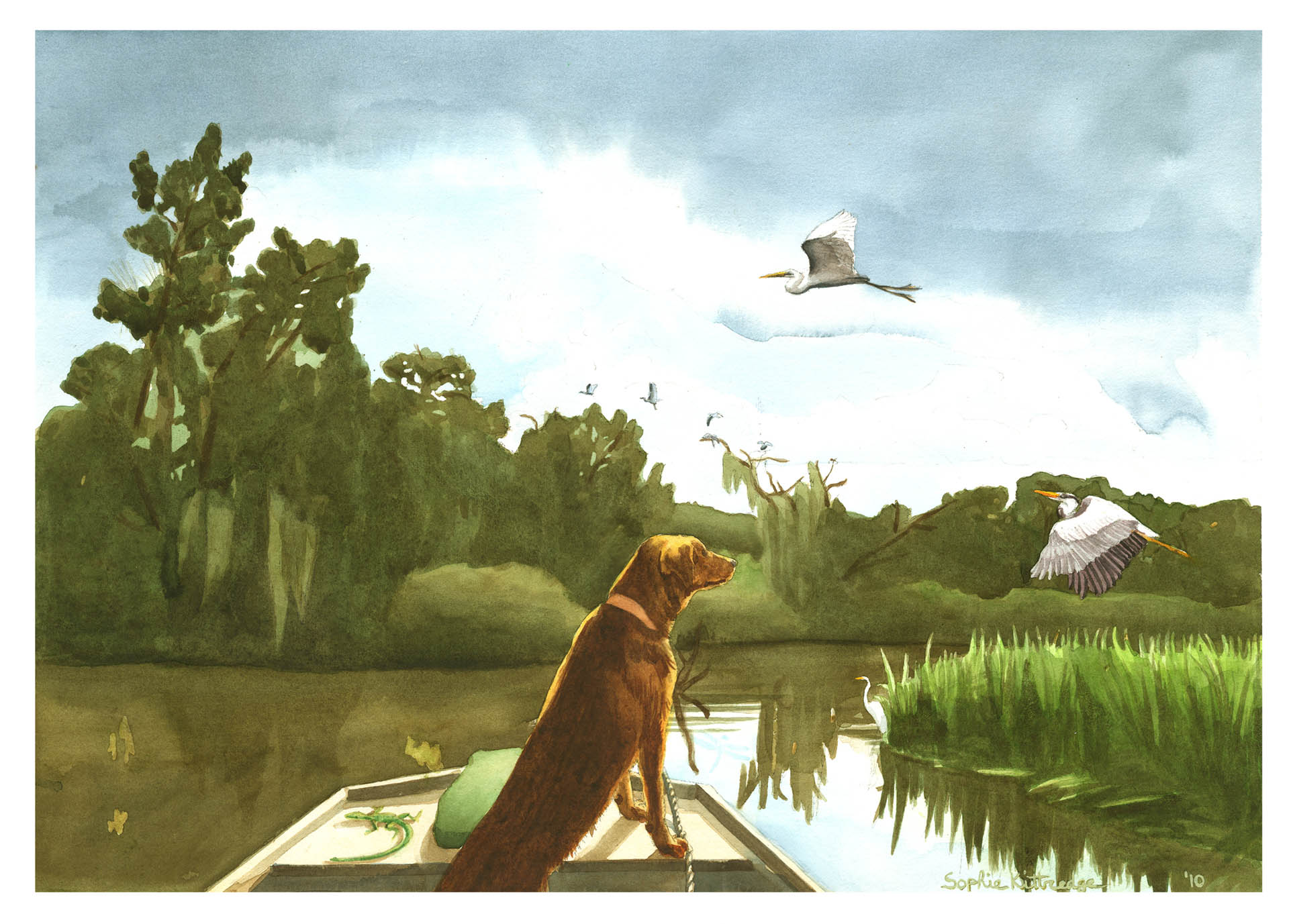 Rusty in a Boat Dog Painting • Personal Work