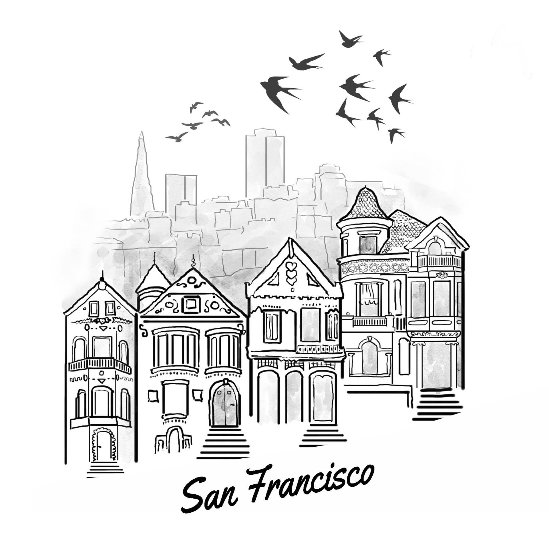San Francisco Inktober Illustration 2020 • Project: They Draw & Travel