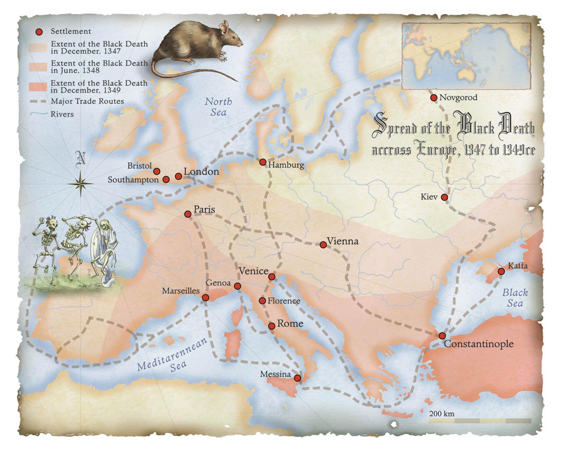 Map of the Black Death • Pearson Australia