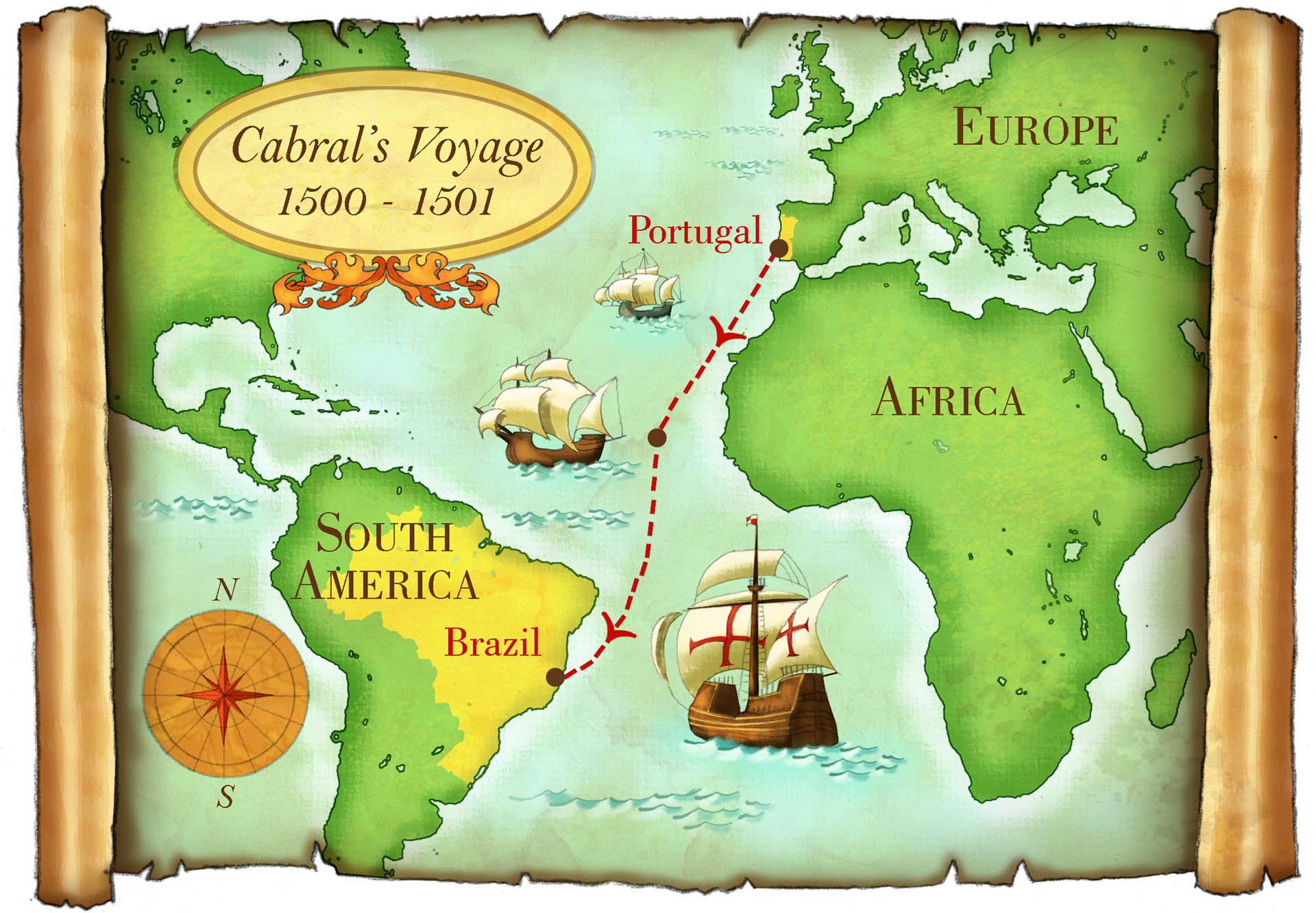 Map of Cabral's Voyage • Dig Magazine