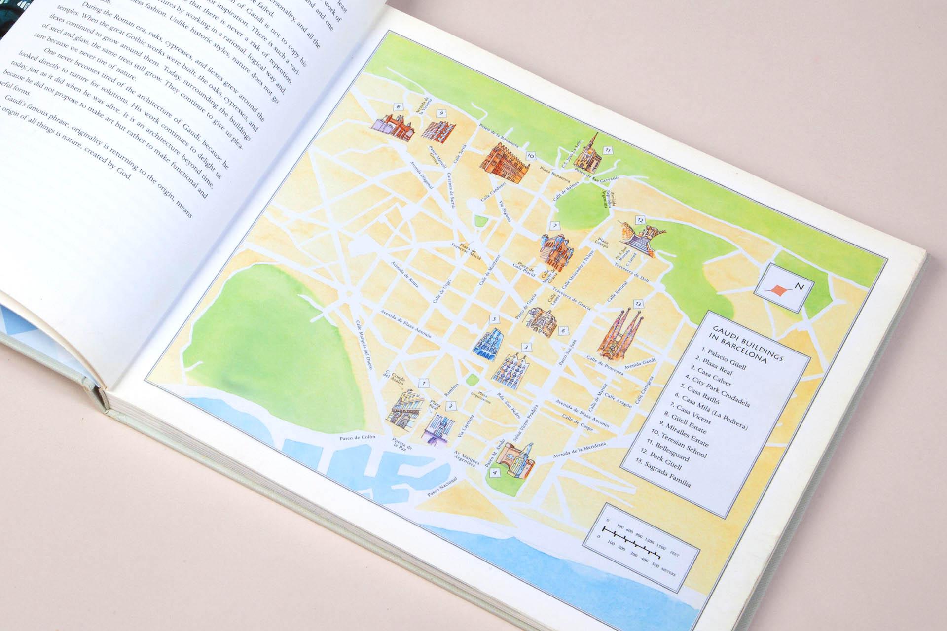 Map for Antonio Gaudi Master Architect book • Abbeville Press