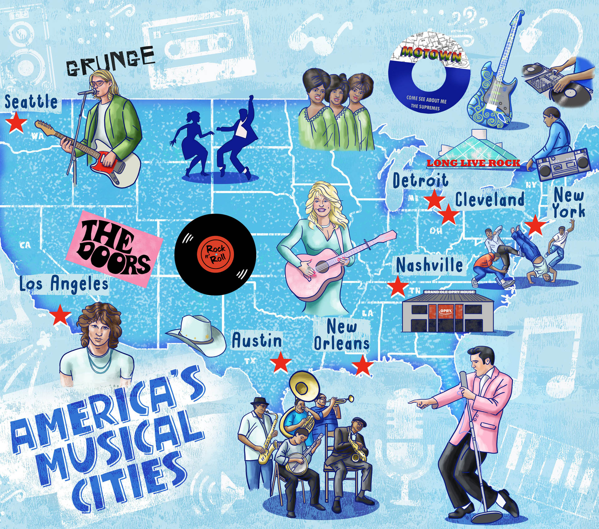 America's Musical Cities Map • Faces Magazine